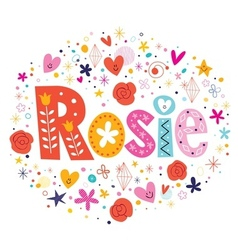 Rosie female name decorative lettering type design vector