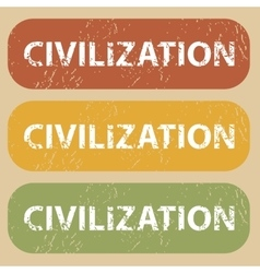Vintage civilization stamp set vector