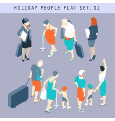 Tourist People 3D Flat Isometric Set 02 vector image