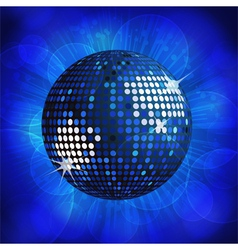 Sparkling blue disco ball on a blue starburst back vector