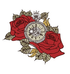 Rose clock retro vector
