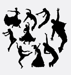 Cool dancer male and female silhouette vector