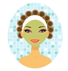 Beauty with hair curlers vector image