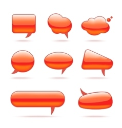 Abstract glass red speech bubbles set for design vector