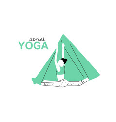 Aerial fly yoga logo template anti-gravity yoga vector