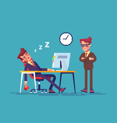 angry boss and worker falling asleep in office vector image