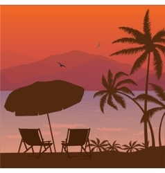beach sunset two chair palm tree and umbrella vector image vector image