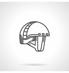 Black line icon for mountaineering helmet vector
