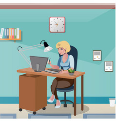 businesswoman sitting at the desk working with vector image vector image