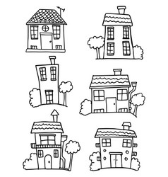 Colletion of house set hand draw vector