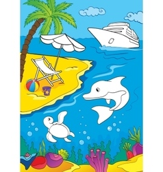 Coloring Book Of Sea And Marina Life vector image