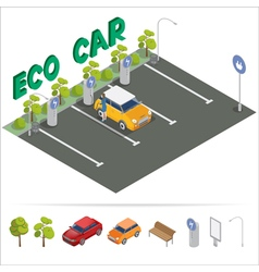 Eco Car Isometric Transportation Charging Station vector image