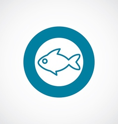 Fish icon bold blue circle border vector