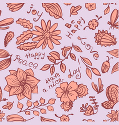 Floral seamless pattern with butterfly and bugs vector