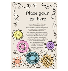 Frame made of hand drawn flowers and spirals vector image