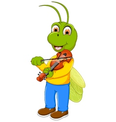 Funny green grasshopper cartoon playing violin vector