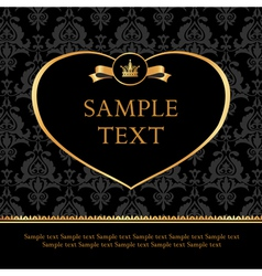 Golden Label Heart on Damask black Background vector image vector image