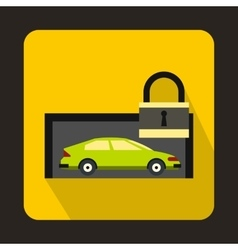 Green car and padlock icon flat style vector