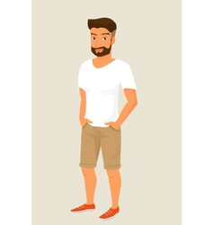 Hipster guy wearing stylish haircut vector image