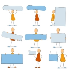 Icon set - man with a sign vector image vector image