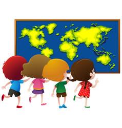 Kids looking at worldmap on board vector