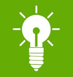 light bulb idea icon green vector image