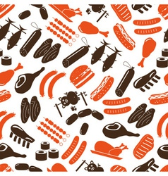 Meat food icons and symbols color seamless pattern vector