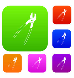 metal shears set color collection vector image vector image