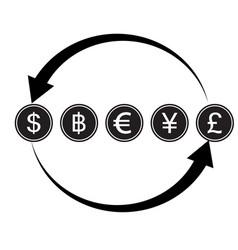 money convert icon euro dollar flat design style vector image vector image
