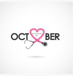 Pink heart ribon signbreast cancer october vector