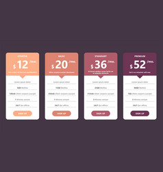 Pricing table template for web design and business vector