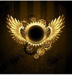 Round banner with steampunk wings vector
