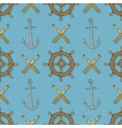 Seamless pattern with anchorsretro ship vector