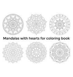 set mandalas with hearts collection symmetric vector image