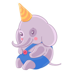 Shy boy elephant in birthday cap and blue panties vector
