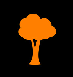 Tree sign orange icon on black vector