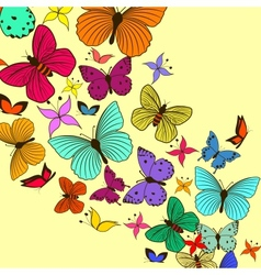 Vintage card with butterflies vector image