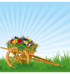 vintage wooden cart detailed vector illustration vector image