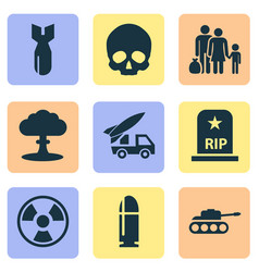 Warfare icons set includes icons such as panzer vector