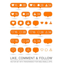 Like follower comment icon set vector