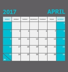 April 2017 calendar week starts on sunday vector