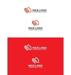 Logo house with a red arrow vector