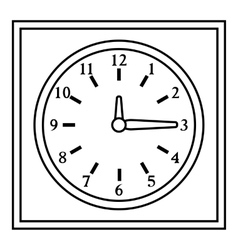 Square wall clock icon outline style vector