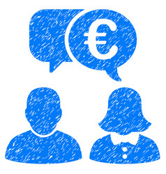 euro chat icon grunge watermark vector image