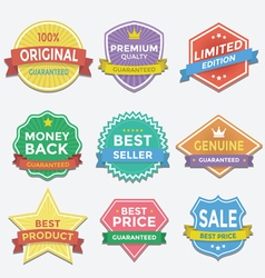 Flat color badges and labels promotion design vector