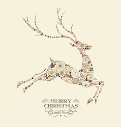 Merry christmas vintage reindeer greeting card vector