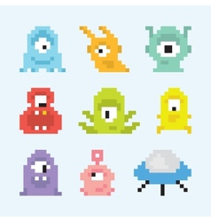 Pixel art aliens set vector