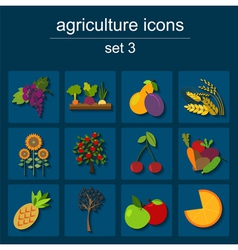 Set agriculture farming icons vector