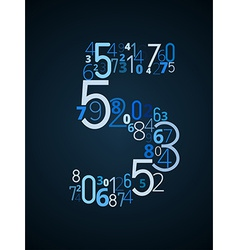 Number 5 font from numbers vector