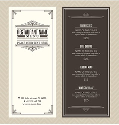 Vintage restaurant or cafe menu design template vector